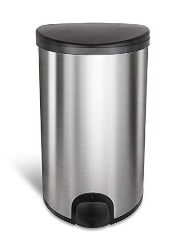 Homra Sensor Mülleimer mit Fußsensor, 50 Liter - Hochwertiger Edelstahl - Fingerabdruckfrei, Geruchsdicht, Innenring - Automatische Abfalleimer für Küche