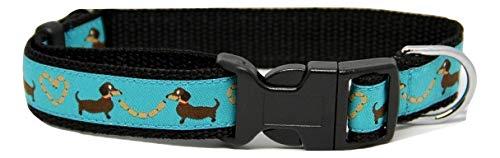 Wunderschönes Hundehalsband Dackel blau S: 25 - 38cm / 2 cm -