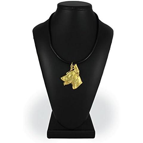 Dobermann, finezza millesimale 999, oro collana di cane, ArtDog