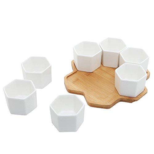 Set von 7Sechseck geformte Keramik Sukkulente Pflanzgefäßen, geometrische Pflanztöpfen mit Bambus Tablett -
