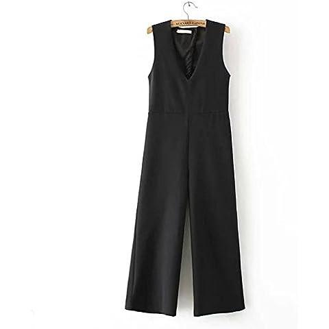 Fashion Casual sin mangas recortada ancho pierna pantalones Mono, negro, large