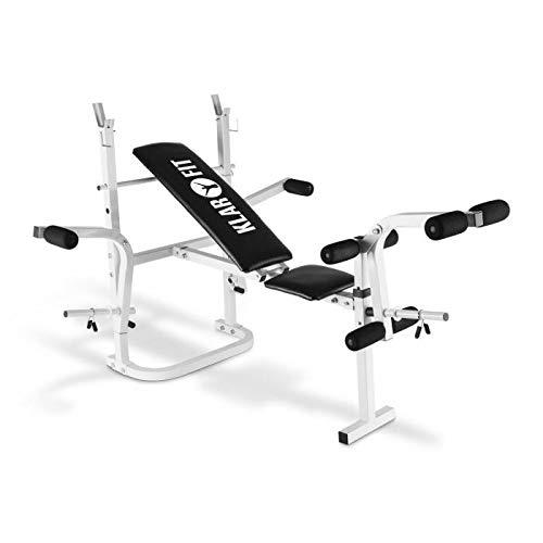 Klarfit HB3BC-W Banc d'entraînement Curler (pour bras, jambes, biceps, mollets, quadriceps, charge maximale 160kg, dossier réglable et rembourré, support) - blanc