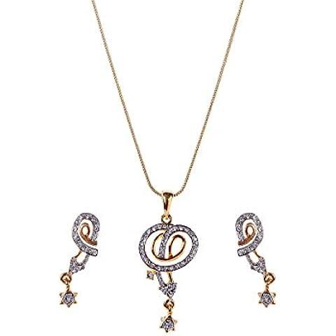 Sempre Londra oro 18K due Tono Placcato Ambra Goccia Ciondolo con design Orecchini in Cristalli Austriaci AAA per ragazza e donna