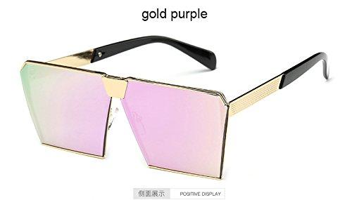 Aprigy Mode-Marken-Entwerfer-Quadrat-flache Linse Sonnenbrillen Spiegel-Frauen-Sonnenbrille M?nner Hip Hop Maxi-Lady Brille M?nnlich [Gold Lila]