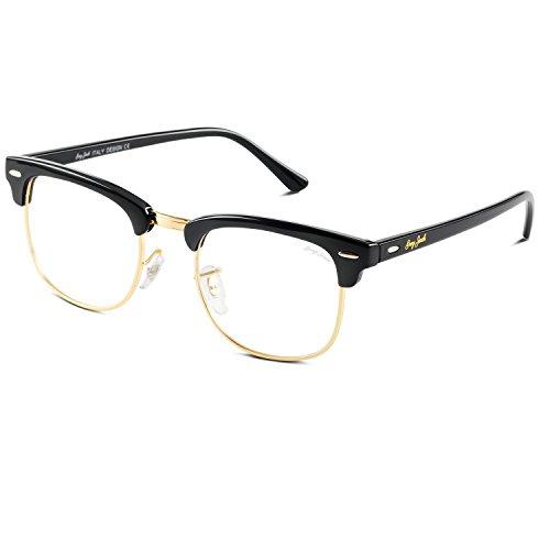 GREY JACK Klassische Polarisierte Halber Rahmen Gespiegelte Sonnenbrille Modebrille für Männer Frauen Schwarz Rahmen Klar Linse