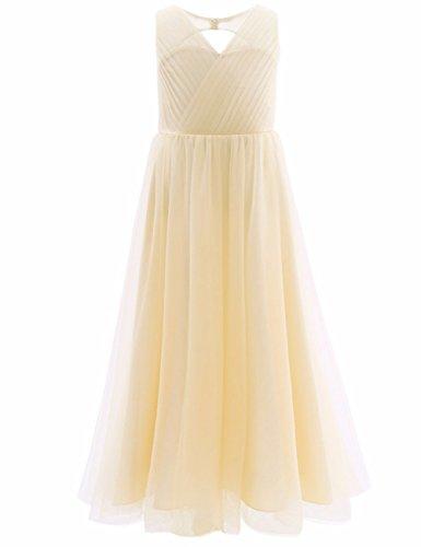 YiZYiF Festliches Mädchen Kleider Lange Brautjungfern Kleider Hochzeit Party Prinzessin Kleid Festzug Gr. 104 116 128 134 140 146 152 164 ,  ( Champagner , 8 years )  (Champagner-mesh)