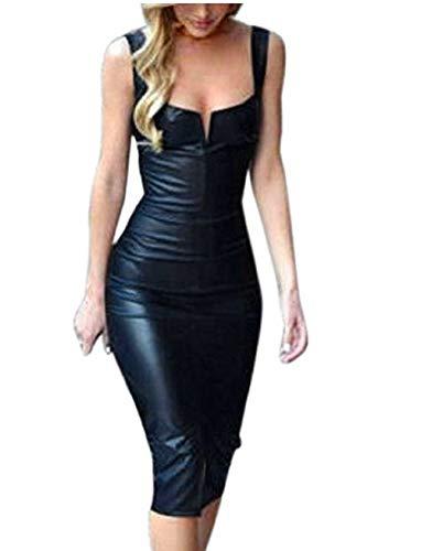 Shujin Damen Winter Langarm oder Armellos elegant Midi Bleistiftkleid Bodycon Clubwear Leder Dress in Latex Leder Lack Optik (XXL, Schwarz 4)