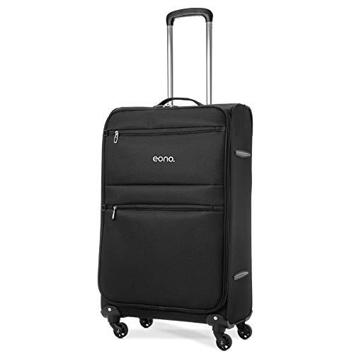 Amazon Brand: Eono, valigia leggera da 66 cm, con quattro ruote multidirezionali (74 x 42 x 26 cm, nera)