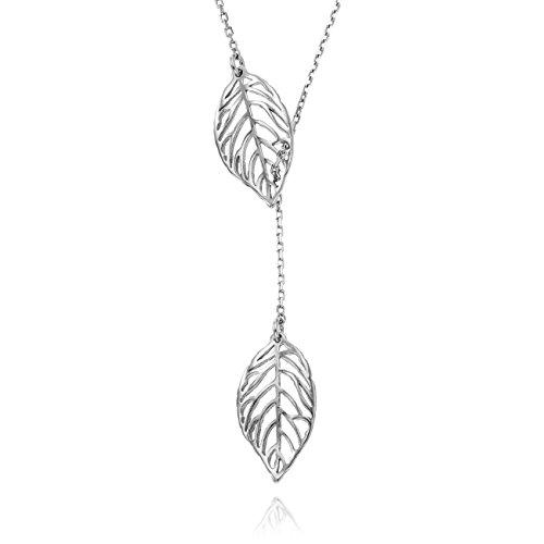 LillyMarie Damen Feine Silberkette Sterling-Silber 925 Blatt-Anhänger Längen-verstellbar Schmuck-Beutel Geschenk Beste Freundin