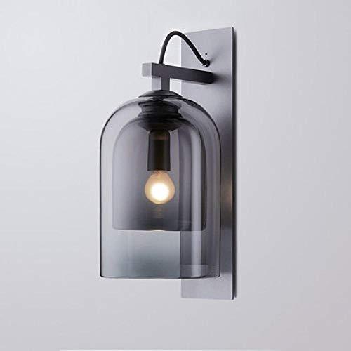 Moderne minimalistische Wandlampe aus Schmiedeeisen Nordic Creative Bedside Wohnzimmer Korridor Hotel Modell Zimmer Aschenbecher Glaswandlampe - mit Lichtquelle