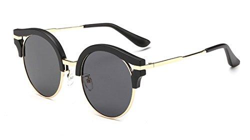 Laura Fata Vintage Nuovo Design Colorful Revo rotondi lenti Cateye occhiali da sole polarizzati per women-black
