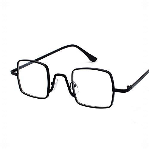 Easy Go Shopping Frauen-Mode-Quadrat Retro Cat Eye verspiegelte Flache Linsen Metallrahmen Sonnenbrille Sonnenbrillen und Flacher Spiegel (Farbe : Black Flat)