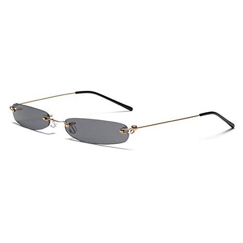 Wenkang Schmale Sonnenbrille Männer Randlos Sommer Rot Blau Schwarz Rechteckige Sonnenbrille Für Frauen Kleines Gesicht,A1