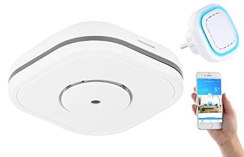 VisorTech CO-Melder für Smart-Home: Funk-Warnsystem WMS-250.COG: WLAN-Gateway mit 1 Kohlenmonoxid-Melder (Kohlenmonoxid-Melder für Smarthome) -