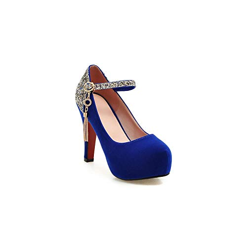 Frauen-Pumpen-Absatz-Schuhe Sharp Kopf Brautschuhe, Blau, 6