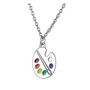 VASSAGO Fashion Emaille Künstler Pinsel Anhänger Halskette Geschenk für Damen & Mädchen