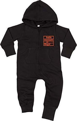 Racker-n-Roll Racker-n-Roll KEIN Mensch IST ILLEGAL Baby All-in-one Sweatsuit Black