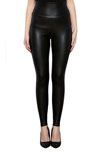 Elegante Matt (SODACODA® Sexy Damen Kunstleder Leggings - Hoher Bund High Waist- Tight - Wet-Look (Matt Schwarz, S))