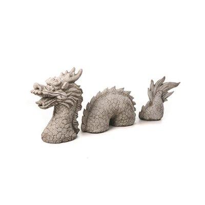 Decorazione da giardino a forma di drago, in pietra, 3 pezzi