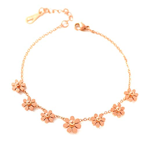 SUNSKYOO Rose Gold Daisy Blume Fußkettchen Fußkette Knöchel Armbänder Strand Barfuß Sandalen Schmuck (Gold Knöchel-armband Rose)