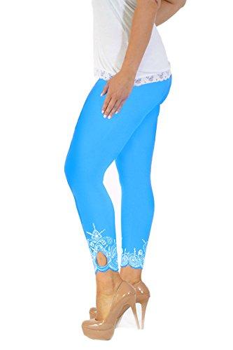 Neu Damen Übergröße Laser Schnitt Gamaschen Frau Ladies Plus Size Leggings mit Loch Laser Cut Nouvelle Collection Türkis
