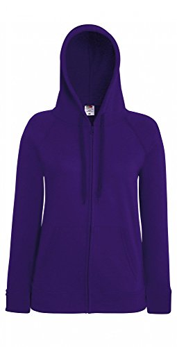 Fruit of the Loom Damen Kapuzenpullover Lightweight Hooded Sweat Jacket Lady-Fit Purple