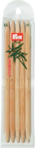 Prym Nadelspiel Strumpfstricknadeln Bambus Länge 20 cm Stärke 8,0 mm