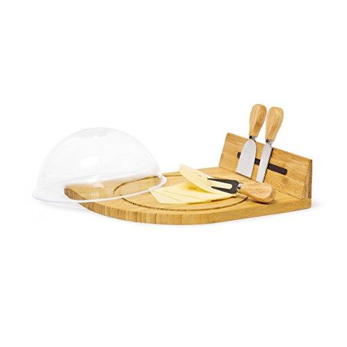 Relaxdays piatto per formaggio, piatto portata formaggi con 3 posate incluse, in bambù e campana in plexyglass, h x b x t 14 x 31 x 25.5 cm, naturale