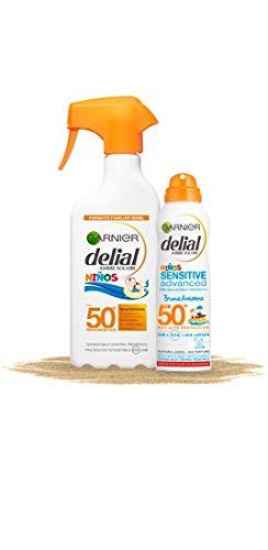 Garnier Delial kit de protección solar niños: Spray IP 50 + Bruma solar...