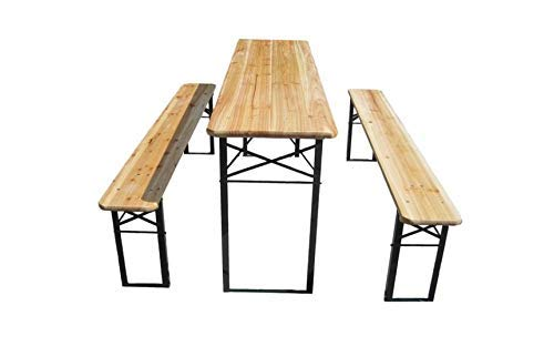 3 Pcs Portable Wooden Folding Picnic Beer Table Bench Trestle Patio Outdoor Garden Pub Adult Size (Large (120x50x75 cm))