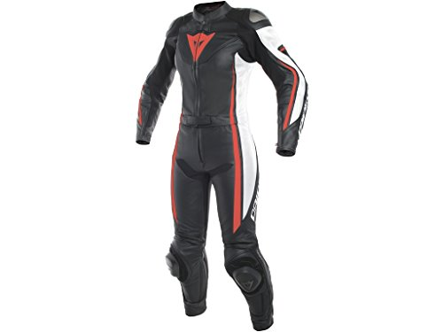 #Dainese Assen Damen Motorrad Lederkombi Zweiteiler, schwarz-weiß-fluorot, 48=42D#