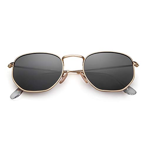 2271795a28 ADEWU Gafas de sol cuadradas polarizadas con lente espejada y marco  hexagonal unisex