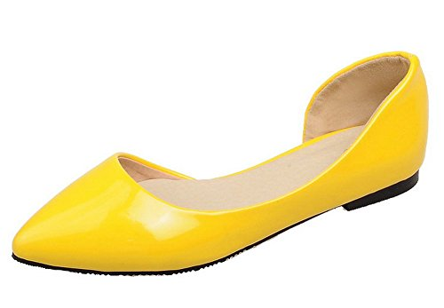 Voguezone009 Femmes Shimmer Pure Pointed Toe Chaussures À Talons Bas Jaune Ballerines