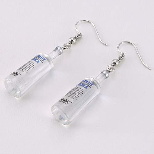 sahnah Creative Cool Vodka Bottle Drop Earrings Funny Drinking Style Cartoon Transparent Bottle Dangle Earrings for Women