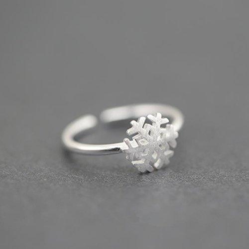 &qq Anelli,Carino fiocco di neve anello accessorio, S925 anello in argento sterling, misura regolabile, monili