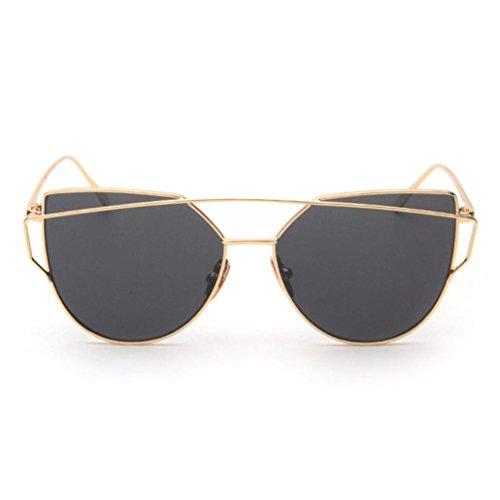 URSING klassische Frauen Metallrahmen Spiegel Sonnenbrille Cat Eye Brillenmode Damen Lady Classic Sunglasses Retro Twin-Träger Polarisierte Katzenaugen Sonnenbrille Süße Verspiegelte Brille (A Schick Gold Metal Frame Grey Spiegel objektiv)