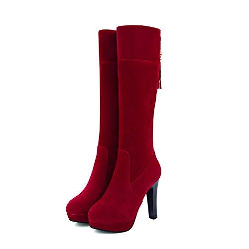 VogueZone009 Donna Punta Tonda Tacco Alto Alta Altezza Puro Stivali con Gioielli Rosso