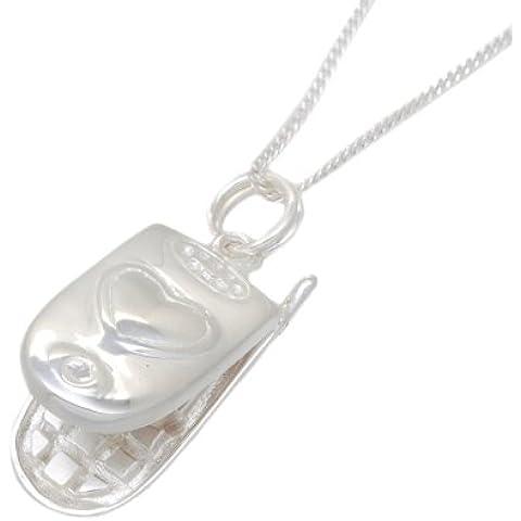 Tuscany-Collana in argento con pendente a forma di cellulare, montato su catena barbazzale regolabile da 41-46 cm/16-(18