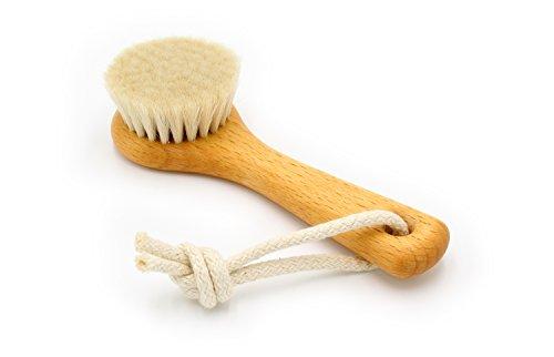 Gesichtsbürste, 128 mm, heimisches Buchenholz, geölt, weiches Ziegenhaar mit Baumwollkordel