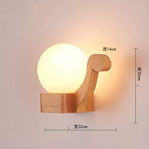 Aplique de pared LED en vidrio de madera, B