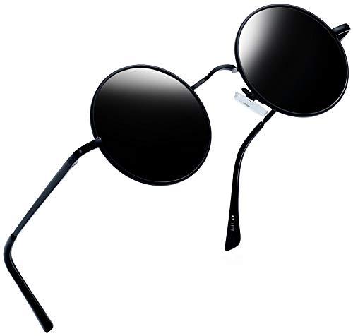 Joopin Runder Retro polarisierte Sonnenbrille Männer Frauen Vintage Steampunk Sonnenbrille(Schwarze einfache Verpackung)