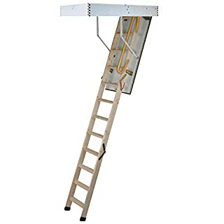 TB Davies 1530-005 Envirofold 3-SectIon Wooden Loft Ladder with Hatch, 33mm Insulation, 1.11 W/m2oC, Max. Floor2Ceiling 2.8m (9.18ft), EN14975 (B0098JRS5O) | Amazon Products
