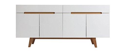 Miliboo - Buffet scandinavo bianco lucido e frassino 180cm MELKA
