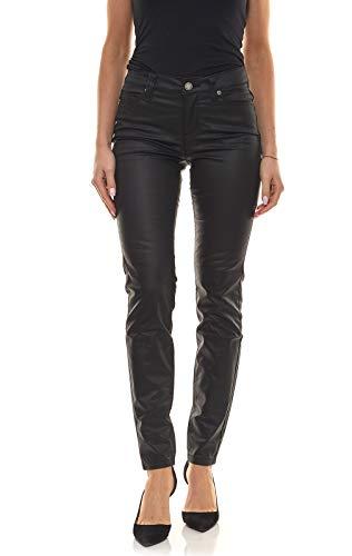 Laura Scott Hose Trendige Damen Lederimitat-Hose mit glänzenden Details Freizeit-Hose Stoff-Hose Schwarz, Größe:38