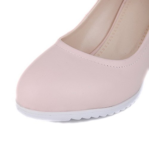VogueZone009 Femme Pu Cuir Couleur Unie Tire Fermeture D'Orteil Rond à Talon Haut Chaussures Légeres Rose
