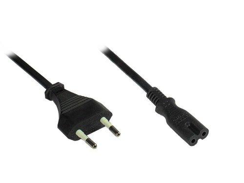 Good Connections® Euro-Netzkabel - 1,5 m - Netzstecker (gerade) an Euro 8 Buchse (gerade) - für Smart TV, Spielekonsole, Playstation, XBOX One S, Drucker, Radio, Rasierer, usw. - schwarz