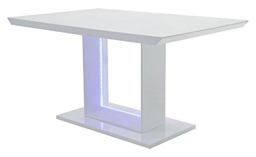 CAVADORE Esszimmertisch BLACE,Moderner Esstisch mit blauer LED Beleuchtung,Hochglanz Weiß,160x75x90 cm (LxBxH)
