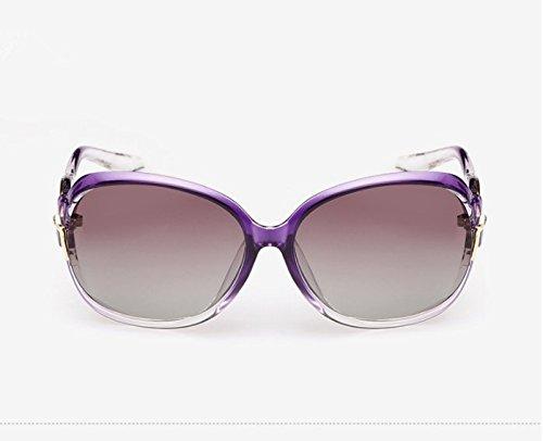 NHDZ Sonnenbrille Lady Neue Polarisierende Sonnenbrillen, Trend, Persönlichkeit, Retro Polaroid Rückspiegel, Big Frame Brille, Helles Schwarz, Violett