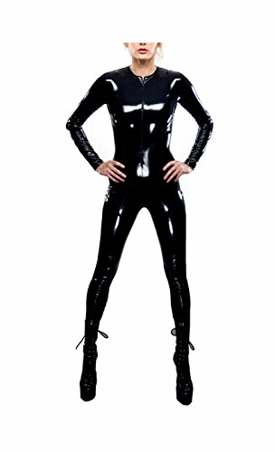 Awake Frauen schwarze Metallic Wet Look Zip Front Catsuit Teddy Clubwear