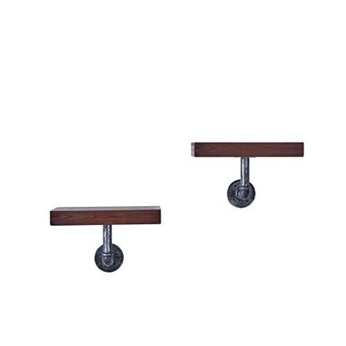 Danya B Floating Rohr Industrie Rustikal Regalen-Wandhalterung-Umber Mokka-(Set von 2)